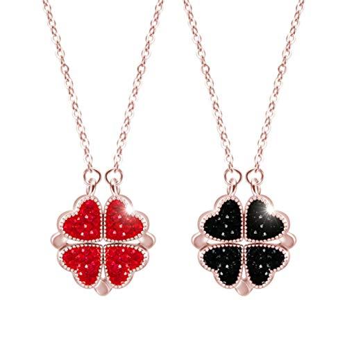 wastreake Colar 2 em 1 em formato de coração e trevo, pingente vermelho e azul, joia de cristais, pingente em formato de coração