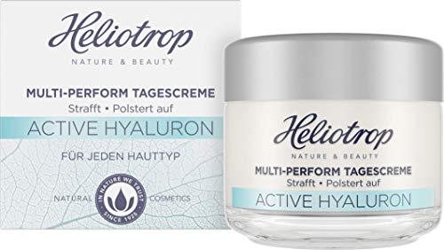 HELIOTROP Naturkosmetik ACTIVE HYALURON Multi-Perform Tagescreme, mit natürlicher Hyaluronsäure, Anti-Aging Tagescreme für ein frisches und spürbar strafferes Hautbild, Vegan, 50 ml