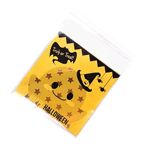 Amosfun 200 stücke Selbstklebende lebensmittelverpackung Taschen Halloween kürbis behandeln Tasche für süßigkeiten Cookie bäckerei Party Paket liefert (10x10 cm)