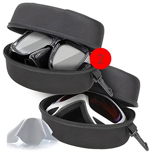 ShyaWorld Funda de Gafas de Buceo Esqui Ski Snow Rígida. Estuche Grande Lígero. para Gafas de Sol si Son de Gran Tamaño. No es Impermeable. Gran Capacidad y Material Duro y Resistente. (Negro 2PCS)
