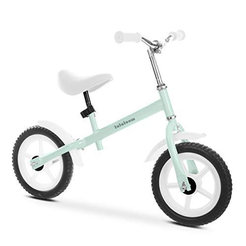Lalaloom MINT BIKE - Bicicleta sin pedales de aluminio para niños de 2 años (andador para bebe, correpasillos para equilibrio, manillar y sillín regulables con ruedas de goma EVA), color Verde