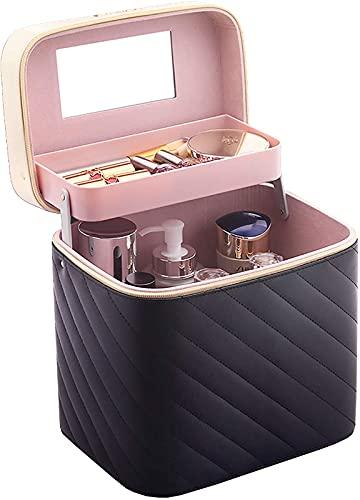 ZXC Caja de Maquillaje Caja de cosmética Maquillaje Caja de Almacenamiento Portátil Cuidado de la Piel Caja de Almacenamiento cosmético, Black