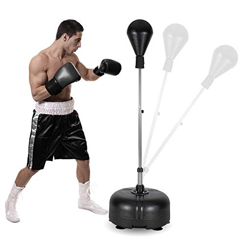 PEXMOR Reflex Bag, Freestanding Punching Bag with Stand, Speed Boxing Ball, Height Adjustable for Adults & Teens, Perfect for Stress Relief/Fitness/Punch Training at Home, Easy Assembly & Durable