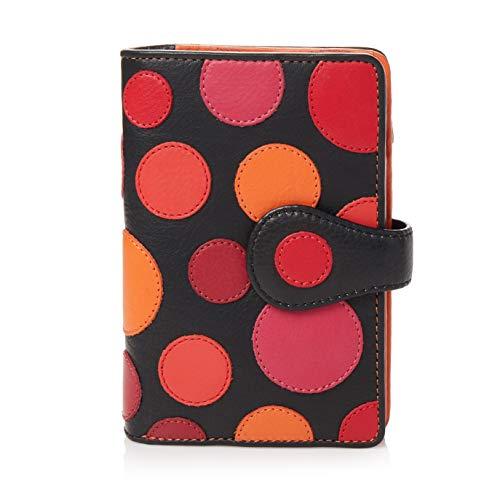 Visconti ® Leder Portemonnaie Damen RFID Schutz Geldbeutel Damen Geldbörse Bifold Mehrfarbig Portmonee in Geschenk-Box Polka Multicolor Purse (P1) (Rottöne)