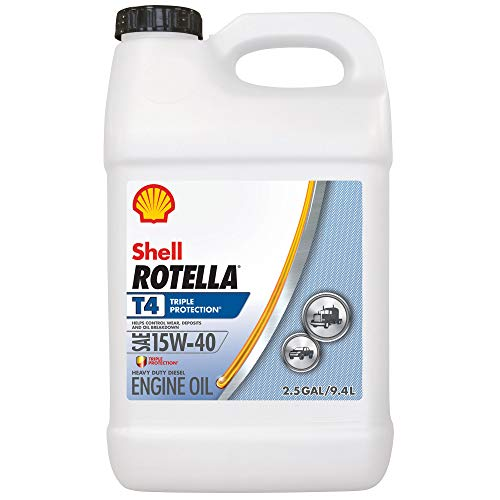 Shell Rotella T4 Triple Protection Conventional 15W-40 Diesel Engine Oil (2.5-Gallon, Case of 2)