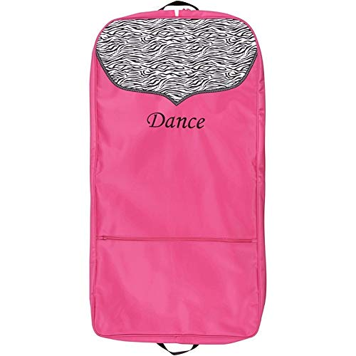 Sassi Designs Girls Pink Zebra Polka Dot Grosgrain Trim Dance Garment Bag