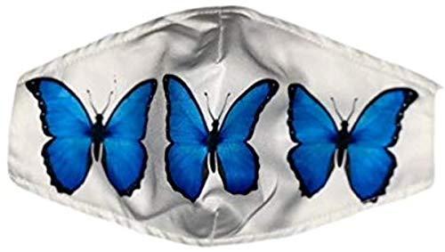 KINGAM - Máscaras de filtro de moda diseños divertidos - Cubiertas faciales ideales para distanciamiento social (bolas de ojos) - mariposas azules