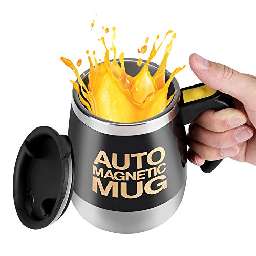 Tonysa Self Stirring Coffee Mug,Electric Stainless Steel Auto Mixing Cup for Keto Coffee/Hot Chocolate/Milk/Cocoa Protein Shaker Mug Magnetic Stirring Coffee Mug for Office/Home/Travel/School(Black)