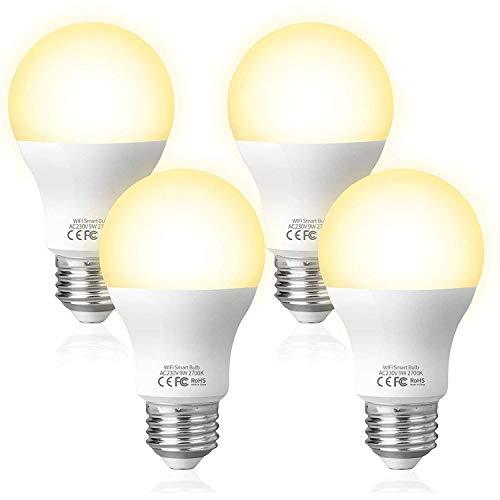 Fitop Alexa Glühbirnen Smart LED-Lampe E27, WLAN Lampe, Dimmbare, 9W 806LM Warmweiß Licht Kompatibel mit Alexa (Echo, Echo Dot) Google Assistant und Siri, Wifi Birne, kein Hub benötigt (4 Stück)