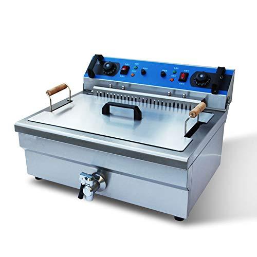 Friteuse Commerciële 20-l dubbele cilinder, 5000-W friteuse van roestvrij staal met olie-terugloopbak en -ventiel, afneembare kop en isolatieplaat