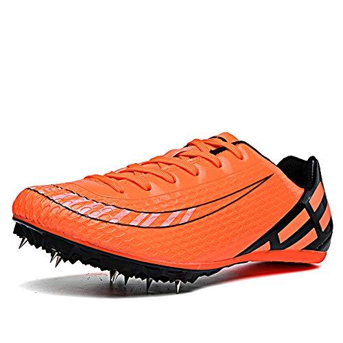 LYXIANG Hombres Y Mujeres Atletismo Zapatos, Zapatillas Deportivas 8 Spikes Atletismo Sprint Hombres Y Mujeres De Mitad De Longitud Salto De Longitud Resistente Al Desgaste Y Transpirable,Naranja,36