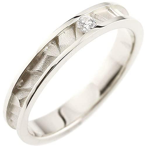 [アトラス]Atrus リング メンズ sv925 スターリングシルバー ダイヤモンド ピンキーリング 4月誕生石 ストレート 指輪 23号