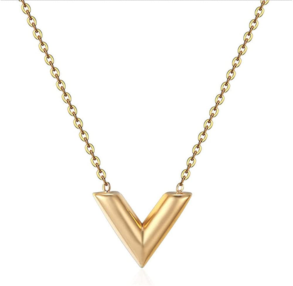 Fashion V Letter Necklace Titanium Steel Necklace Jewelry Simple Clavicle Chain
