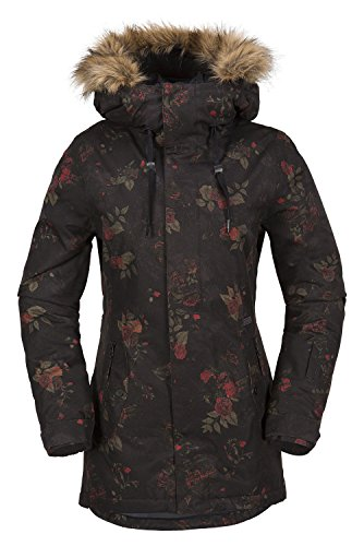 Volcom Junior's Mission Insulated 2 Layer Shell Snow Jacket, Black Floral Print, Extra Small