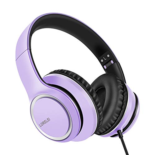 LORELEI X8 Over-Ear Wired Headphones with Microphone with 1.45m-Tangle-Free Nylon Line&3.5mm Plug,Lightweight Foldable & Portable Headphones for Smartphone,Tablet,Computer,Mp3/4(Dark Purple)