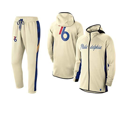 Rencai Philadelphia 76ers Los Aficionados de los Hombres del Conjunto Jersey, Camiseta de Manga Larga de Moda Deportiva Sudaderas con Capucha de la Cremallera Completa al Aire Libre suéter Casual