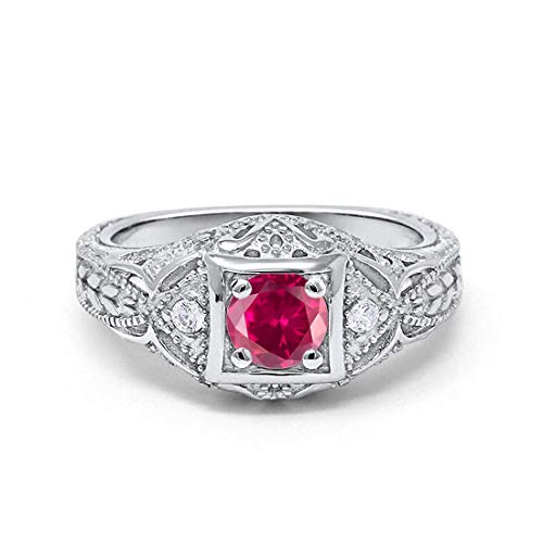 Blue Apple Co. Art Deco Antique Style Wedding Engagement Ring Simulated Ruby Round Cubic Zirconia 925 Sterling Silver, Size-8
