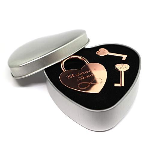 Liebesschloss Herzschloss rose gold mit 2 Schlüssel graviert Geschenkset