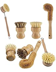 Opopark 4 Piezas Cepillo para Fregar Platos de Bambú Natural - Hecho de Bambú 100% Natural - Cerdas Naturales - Cepillo para Fregar Platos sin Plástico