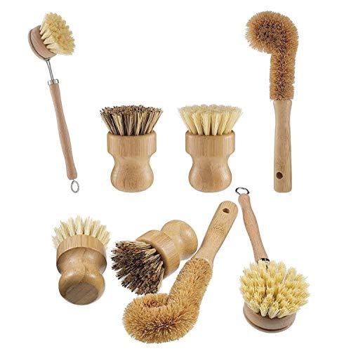 Opopark 4 Piezas Cepillo para Fregar Platos de Bambú Natura