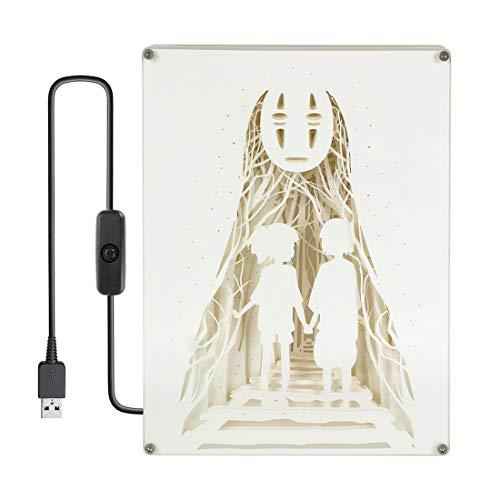 CoolChange Chihiros Reise ins Zauberland Diorama Leuchtkasten mit Farbiger Beleuchtung, Motiv: Chihiro, Haku & Ohnegesicht