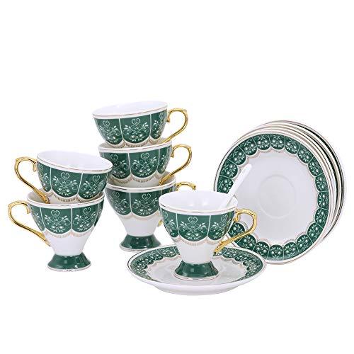 ufengke Kleines Espressotassen Set,Becher Kaffeetasse,Porzellan Teetassen Sets,Set von 6 Keramik Teetassen mit Untertasse,Grün