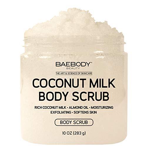 Baebody Coconut Milk Body Scrub: With Dead Sea Salt, Almond Oil, and Vitamin E. - Exfoliator, Moisturizer Promoting Radiant Skin 10oz.