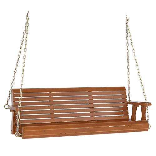 VINGLI Upgraded Patio Wooden Porch Swing for Courtyard & Garden, Heavy Duty 880 LBS Swing Chair Bench with Hanging Chains for Outdoors (5 FT, Brown)