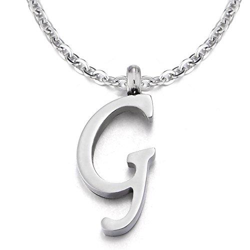 COOLSTEELANDBEYOND Nome Iniziale Lettera di Alfabeto G Ciondolo, Collana con Pendente Croce da Donna Uomo, Acciaio, 50cm Corda Catena