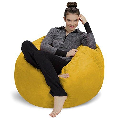 Sofa Sack - Plush, Ultra Soft Bean Bag Chair - Memory Foam Bean Bag Chair with Microsuede Cover - Stuffed Foam Filled Furniture and Accessories for Dorm Room - Lemon 3'