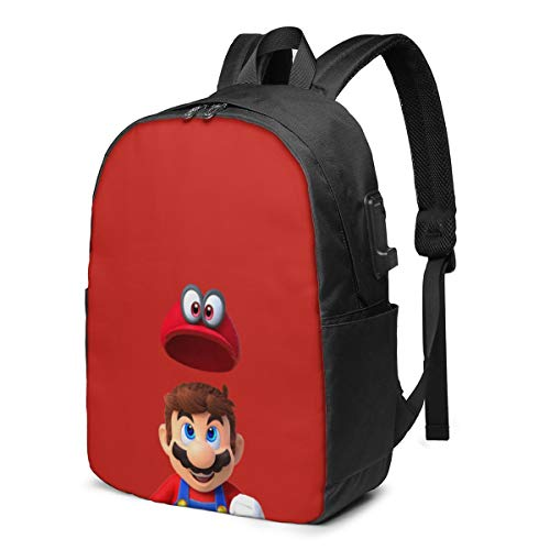 Super Mario USB Backpack 17 in Unisex Laptop Backpack Travel,Durable Waterproof with USB Charging Port for School College Students Backpack