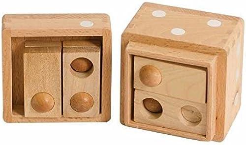 compras en linea 1 Inch Wooden 3D Hole Hole Hole and Balls Dice Box Puzzle, Light Beige by CHH  de moda