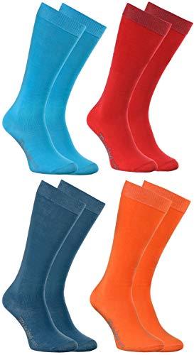 Rainbow Socks - Jungen Mädchen Baumwolle Kniestrümpfe - 4 Paar - Blau Rosa Türkis Orange - Größen 24-29