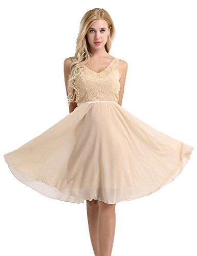 inlzdz Women's V-Neck Floral Lace Chiffon Wedding Bridesmaid Dress A-Line Swing Evening Party Dress Champagne 10