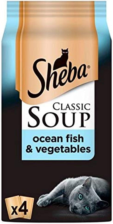 6X Sheba Classic Soup Cat Pouch with Fish Fillets & Veg 4 x 40g