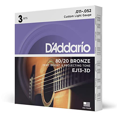 D'Addario EJ13-3D 80/20 Custom Light 11-52 Bronze Acoustic Guitar Strings