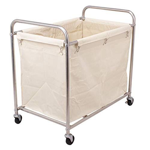 ZAQI Cesto Ropa Sucia Carrito clasificador de lavandería sobre Ruedas, Servicio de Servicio de Metal de Servicio Pesado de Color Beige for Hotel/Industrial/Comercial, Carga 100 kg