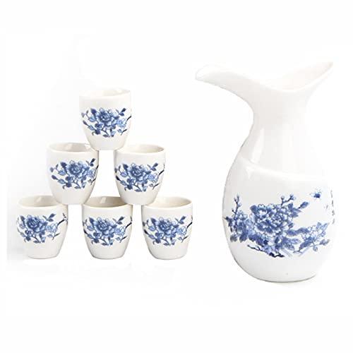 Juego De Sake Japonés De Cerámica, Juego De Sake Japonés Incluye 1 Botella De Tokkuri Blanca Y 6 Tazas, Flor De Peonía Azul