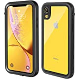 Clear iPhone xr case, Underwater 360 Full Sealed Cover, IP68 Certified, Military Grade Drop Tested, Waterproof, Snowproof, Shockproof and Dustproof with Built-in Screen Protector for iPhone Xr (black)