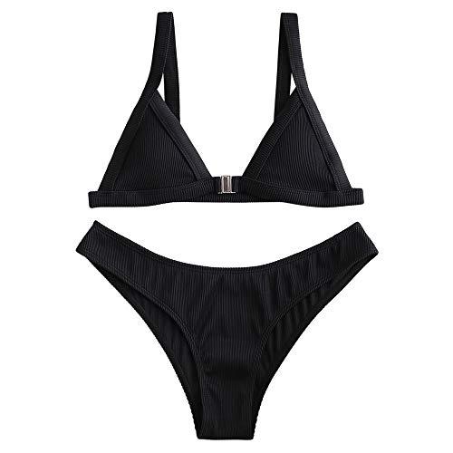 ZAFUL Women's Straps Textured Ribbed Front Closure High Cut Bikini Set Swimsuit (Black, S)