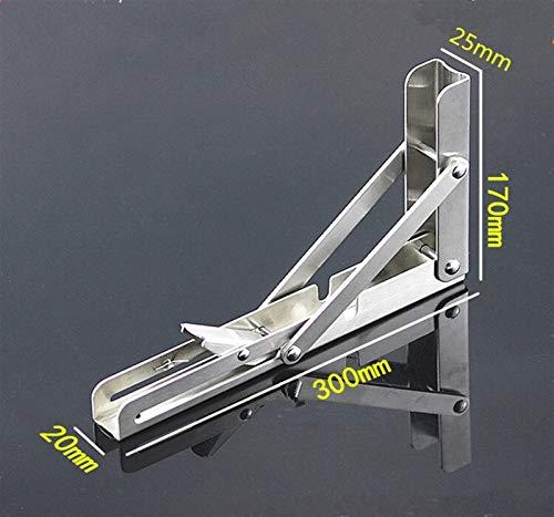2 piezas de 10 pulgadas a 16 pulgadas resistente barato de acero inoxidable plegable escritorio mesa de montaje en pared movible Colgando ángulo de asiento Soportes (Color : 12 Inch)