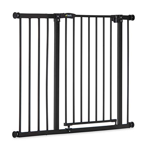Hauck Barrera de Seguridad de Niños para Puertas y Escaleras Close N Stop Safety incl. Extension 21 cm, Sin Agujeros, 96 - 101 cm, Metal, Negro