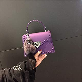 Adebie - Fashion Jelly Women Handbags Lady Brand Designer High Quality Shoulder Crossbody Bags for Girl Cute Luxury Rivet Small Tote Bag M Purple []