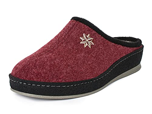 Schawos Filz Hausschuh für Damen, Qualitäts-Pantoffel, mit anatomisch geformtem Fußbett und aktiver Fersendämpfung, Modell: Lisa (40 EU, Bordeaux, numeric_40)