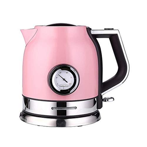 PIANYIHUO HervidorHervidor de agua de acero inoxidable Hervidor eléctrico de acero inoxidable con termómetro Olla de aislamiento de café anti-escaldado, Rosa,