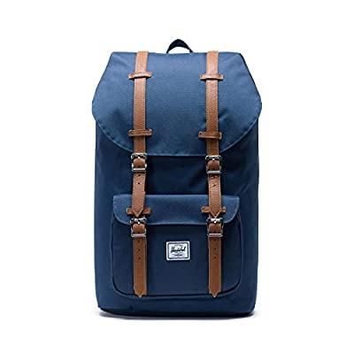 Herschel Little America Backpack with Laptop Sleeve, Navy/Tan Synthetic Leather, Classic 25L
