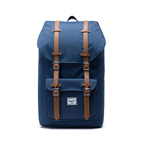 Little America Backpack, Navy/Tan Synthetic Leather Backpack, Einheitsgröße