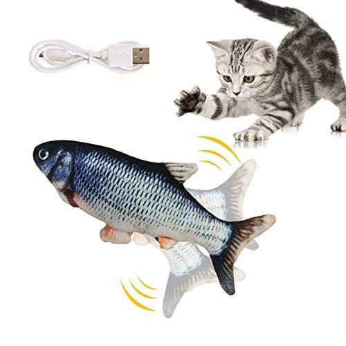 EasyULT Elektrische Fische Katze, 28CM Realistische Plüsch Simulation Fisch, USB Elektrische Plüsch Fisch Katzenspielzeug, Katze Interaktives Spielzeug(Carp)