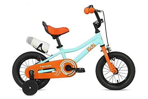 FabricBike Kids - Bicicleta con Pedales para niño y niña, Ruedines de Entrenamiento Desmontables, Frenos, Ruedas 12 y 16 Pulgadas, 4 Colores (Aqua & Orange, 12': 2-3,5 Años (Estatura 70cm - 96cm))