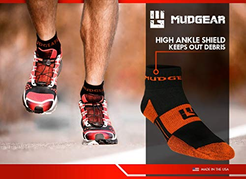 MudGear Trail Running Socks for Men and Women, Made in USA - 2 Pair Pack (Black/Orange, Large)